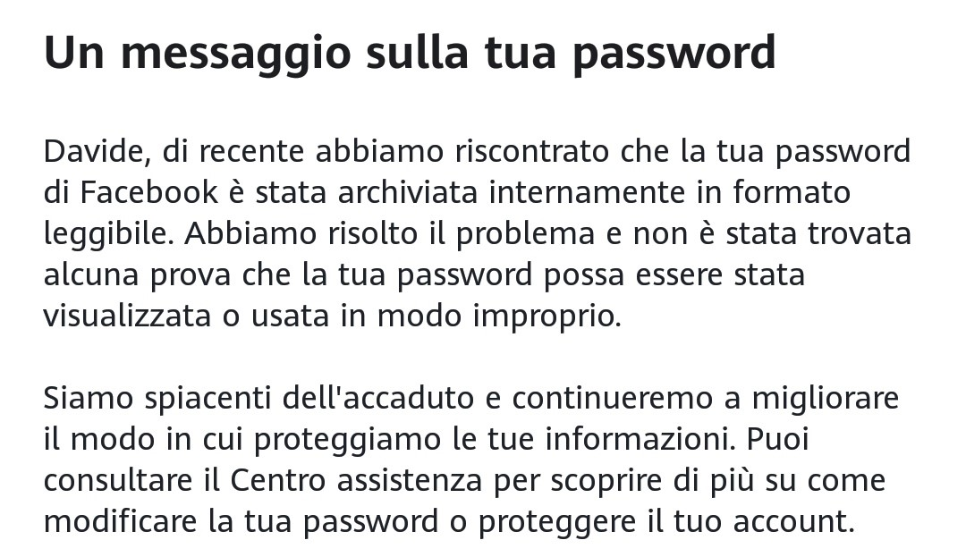 Facebook password in chiaro